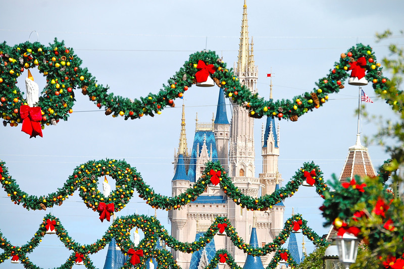 Cinderella's Castle and Holiday garlands