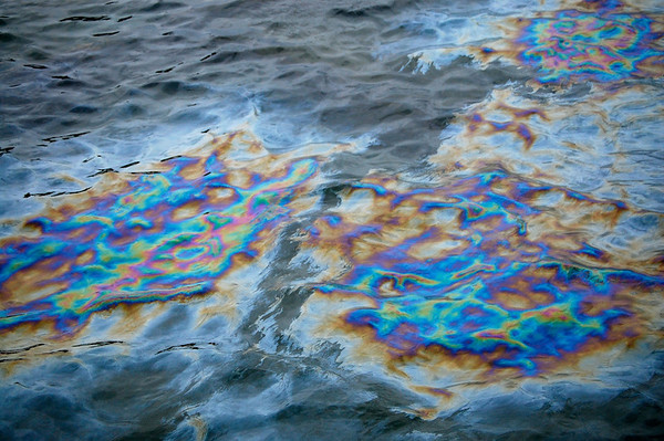 Rainbow of oil on water