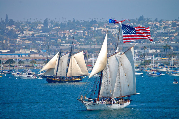 Sailing ships in San Diego Harbor