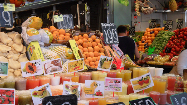 Fruit stand at La Boqueria