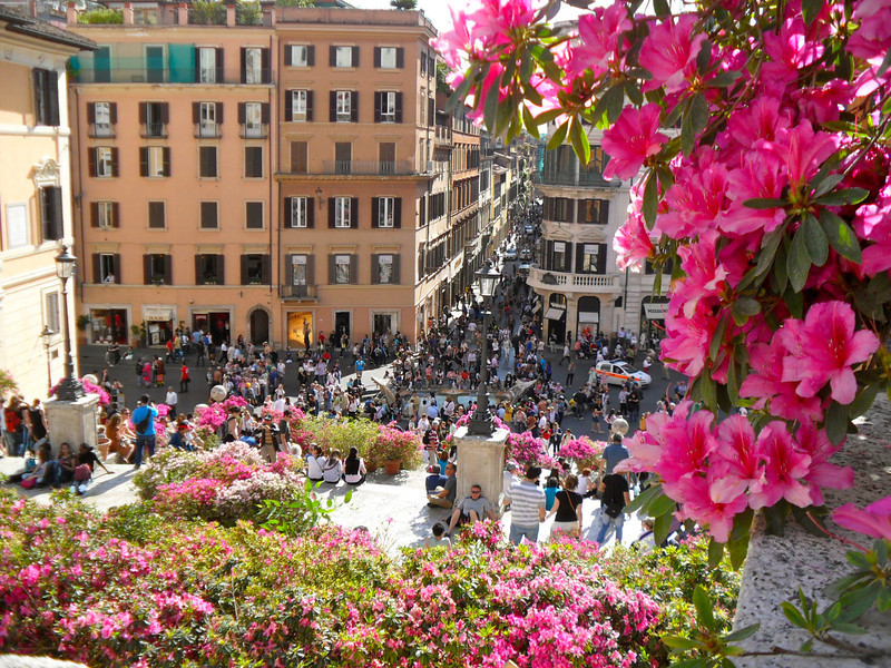 View from Spanish Steps to Piazza di Spagna