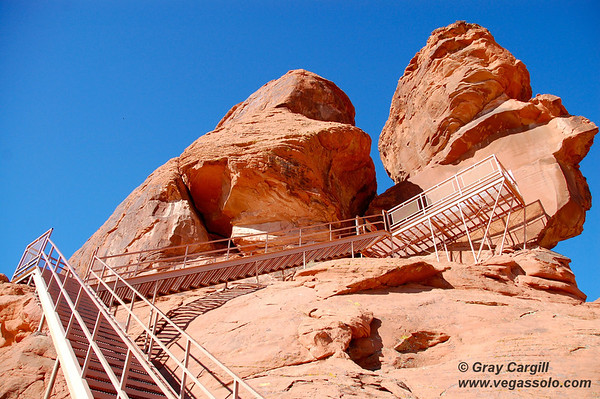 Stairs to the petroglyphs and valley views
