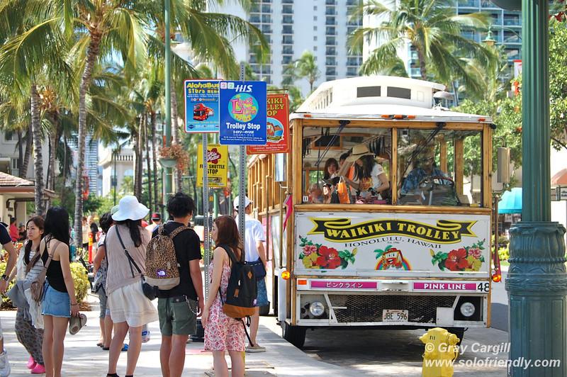 Waikiki tourist trolley