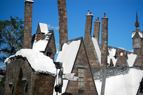 Snow-capped roofs of Hogsmeade
